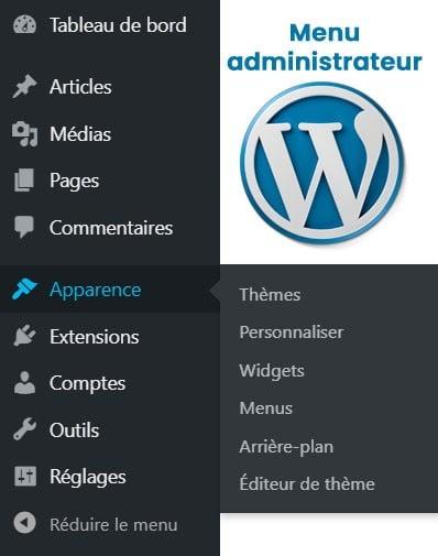 Menu administrateur de WordPress