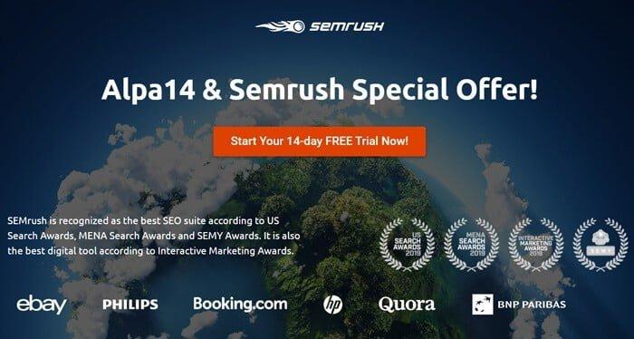 Offre spéciale SEMrush Alpa14
