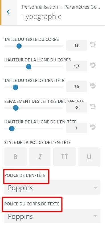 Choix des polices de caractères Divi
