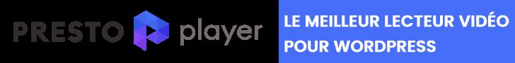 Presto Player lecteur vidéo WordPress