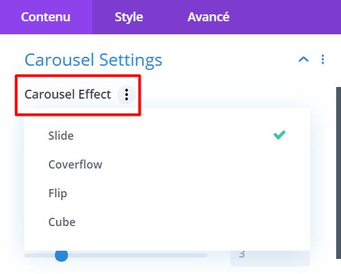 4 effets carrousel disponibles