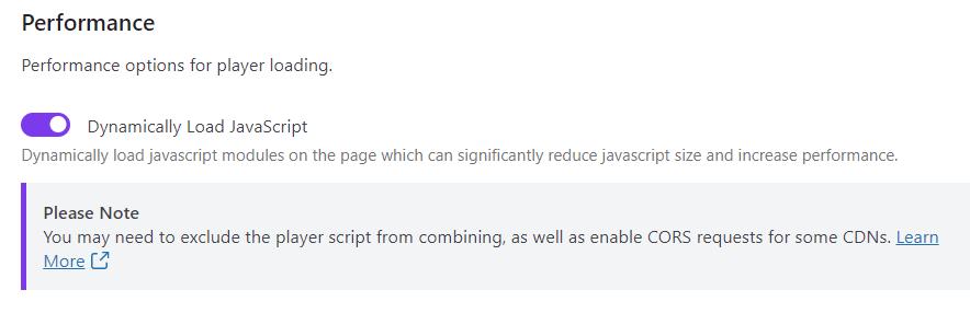 L'option Dynamically Load JavaScript