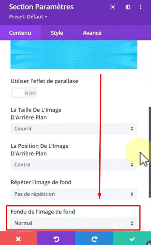 Ajouter un filtre à l'image de fond de la section